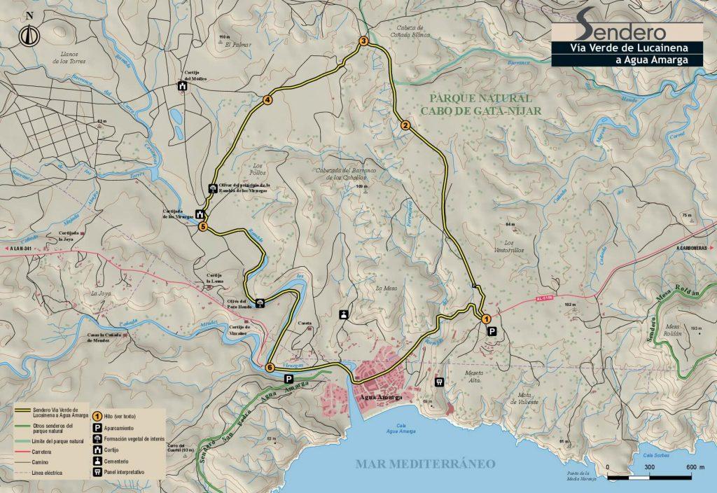 Mapa Lucainena a Agua Amarga