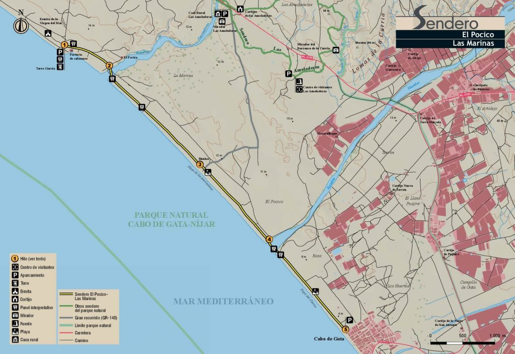 Mapa El Pocico a Las Marinas