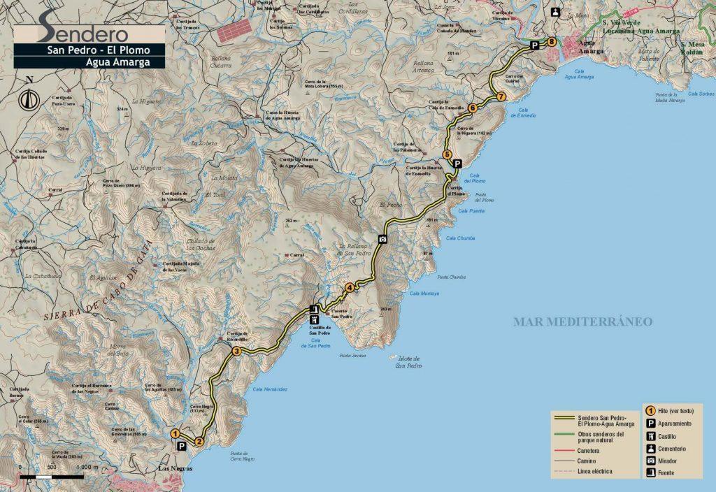 Mapa Cala San Pedro a Agua Amarga